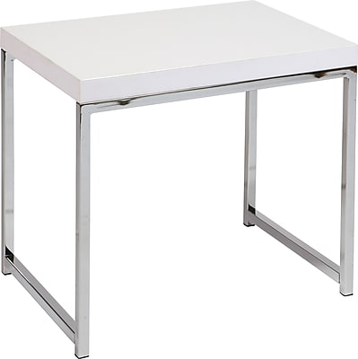 "Office Star Ave Six® 18 1/2"" x 22"" x 15 3/4"" Wood/Veneer Wall Street End Table, White"