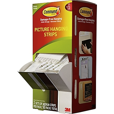 Command Medium Picture Hanging Strips, White, 50/Pack