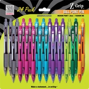 Zebra® Z-Grip™ Retractable Ballpoint Pens, Medium Point, Assorted Fashion Colors, 24/Pack