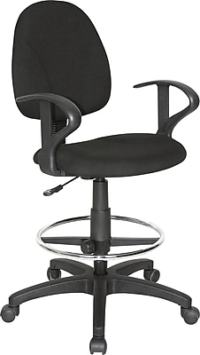 Staples Extended Height Stool with Arms, Black