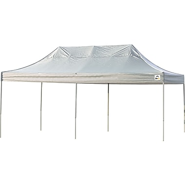 ShelterLogic 10' x 20' Straight Leg Pop-up Canopy with Black Roller Bag, White Cover