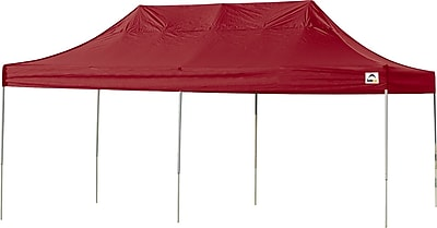 ShelterLogic 10' x 20' Straight Leg Pop-up Canopy with Black Roller Bag, Red Cover