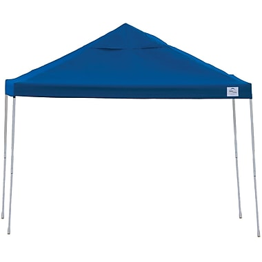 ShelterLogic 12' x 12' Straight Leg Pop-up Canopy with Black Roller Bag, Blue Cover
