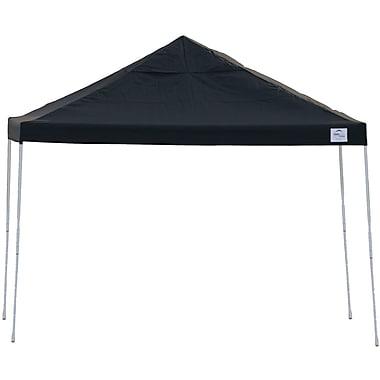 ShelterLogic 12' x 12' Straight Leg Pop-up Canopy with Black Roller Bag, Black Cover
