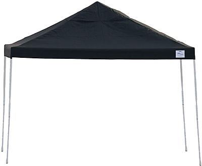 ShelterLogic 12' x 12' Straight Leg Pop-up Canopy with Black Roller Bag, Black Cover