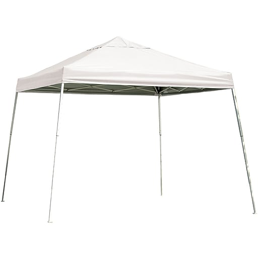 ShelterLogic 12' x 12' Slant Leg Pop-up Canopy with Black Roller Bag, White Cover