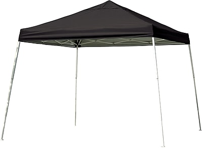 ShelterLogic 12' x 12' Slant Leg Pop-up Canopy with Black Roller Bag, Black Cover