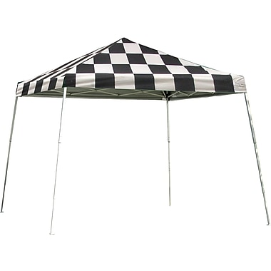 ShelterLogic 12' x 12' Slant Leg Pop-up Canopy with Black Roller Bag, Checkered Flag Cover