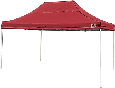 ShelterLogic 10' x 15' Straight Leg Pop-up Canopy with Black Roller Bag, Red Cover