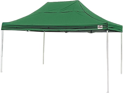 ShelterLogic 10' x 15' Straight Leg Pop-up Canopy with Black Roller Bag, Green Cover