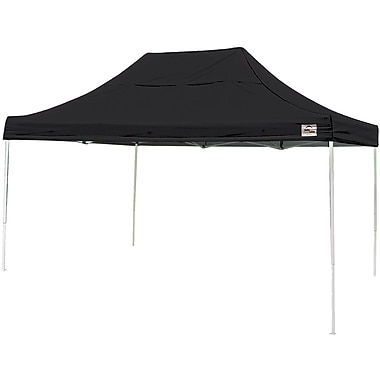 ShelterLogic 10' x 15' Straight Leg Pop-up Canopy with Black Roller Bag, Black Cover