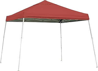 ShelterLogic 10' x 10' Slant Leg Pop-up Canopy with Black Roller Bag, Red Cover