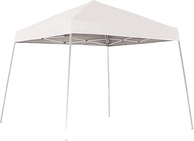 ShelterLogic 10' x 10' Slant Leg Pop-up Canopy with Black Roller Bag, White Cover