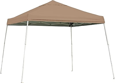 ShelterLogic 10' x 10' Slant Leg Pop-up Canopy with Black Roller Bag, Desert Bronze Cover