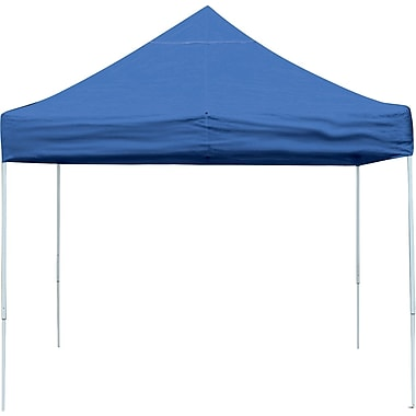 ShelterLogic 10' x 10' Straight Leg Pop-up Canopy with Black Roller Bag, Blue Cover