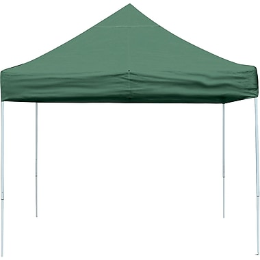 ShelterLogic 10' x 10' Straight Leg Pop-up Canopy with Black Roller Bag, Green Cover
