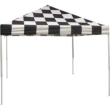 ShelterLogic 10' x 10' Straight Leg Pop-up Canopy with Black Roller Bag, Checkered Flag Cover