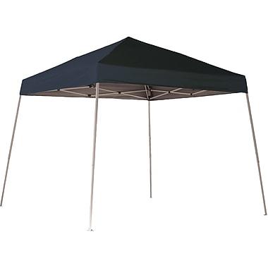 ShelterLogic 10' x 10' Slant Leg Pop-up Canopy with Black Roller Bag, Black Cover
