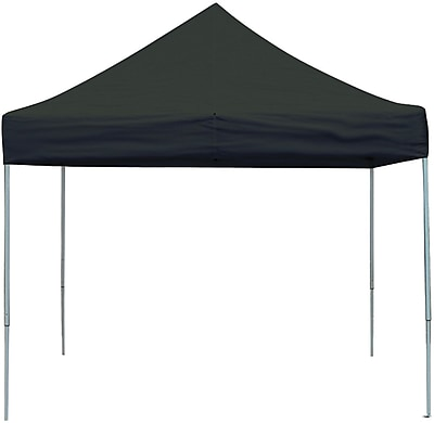 ShelterLogic 10' x 10' Straight Leg Pop-up Canopy with Black Roller Bag, Black Cover