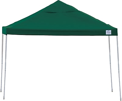 ShelterLogic 12' x 12' Straight Leg Pop-up Canopy with Black Roller Bag, Green Cover