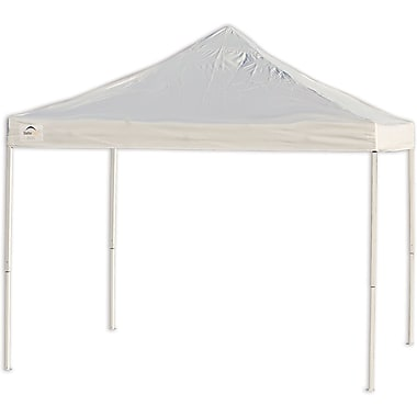ShelterLogic 10' x 10' Straight Leg Pop-up Canopy with Black Wheel Bag, Truss Top, White Cover
