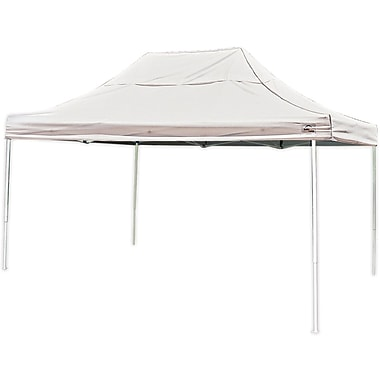 ShelterLogic 10' x 15' Straight Leg Pop-up Canopy with Black Roller Bag, White Cover