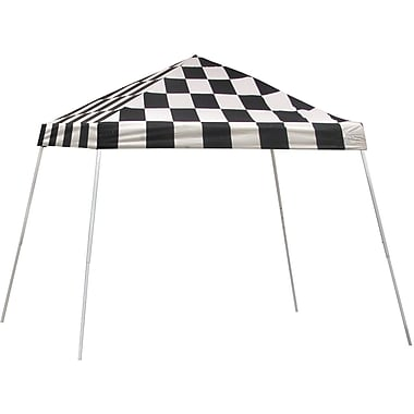 ShelterLogic 10' x 10' Slant Leg Pop-up Canopy with Black Roller Bag, Checkered Flag Cover