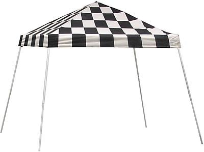 ShelterLogic 10' x 10' Slant Leg Pop-up Canopy with Black Roller Bag, Checkered Flag Cover