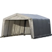 "ShelterLogic 12' × 16' × 8' Peak Style Shelter, 1 3/8"" 5-Rib Frame, Gray Cover"