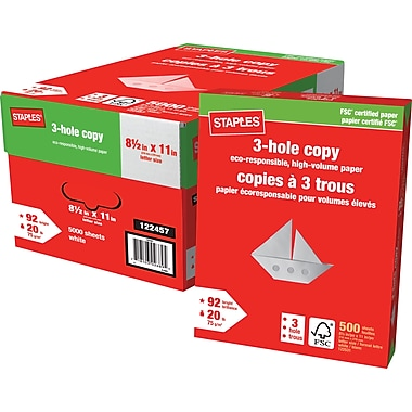 Staples® 3-Hole Punched FSC-Certified Copy Paper, 20 lb., 8-1/2