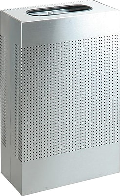 Rubbermaid Designer Line™ Silhouettes Waste Receptacle, Steel, 13 Gallon Capacity, Silver Metallic (FGSR14EPLSM)
