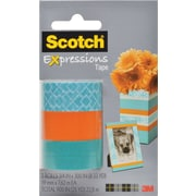 "Scotch® Expressions Tape, Classic Triangle, Orange, Blue, Removable, 3/4"" x 300"", 3/Pack"