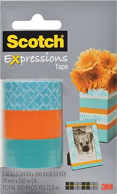 Scotch® Expressions Tape, Classic Triangle, Orange, Blue, Removable, 3/4