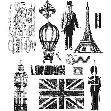 Stampers Anonymous Tim Holtz Large Cling Rubber Stamp Set, Paris To London