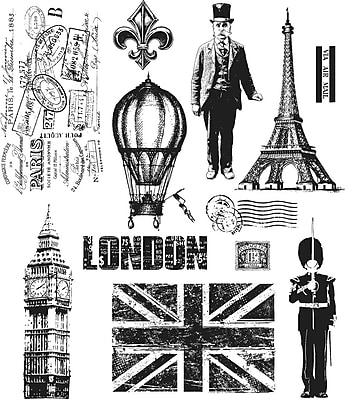 Stampers Anonymous Tim Holtz Large Cling Rubber Stamp Set, Paris To London (CMS-LG-160)