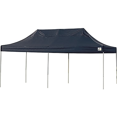 ShelterLogic 10' x 20' Straight Leg Pop-up Canopy with Black Roller Bag, Black Cover