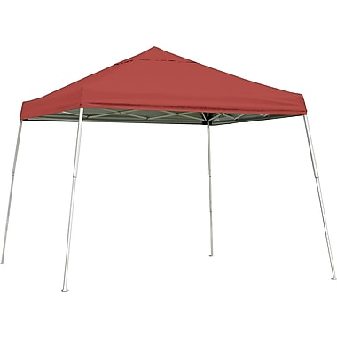 ShelterLogic 12' x 12' Slant Leg Pop-up Canopy with Black Roller Bag, Red Cover