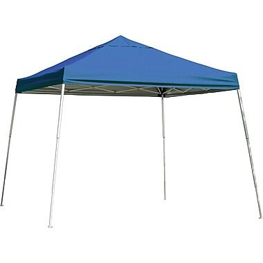 ShelterLogic 12' x 12' Slant Leg Pop-up Canopy with Black Roller Bag, Blue Cover