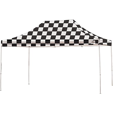 ShelterLogic 10' x 15' Straight Leg Pop-up Canopy with Black Roller Bag, Checkered Flag Cover