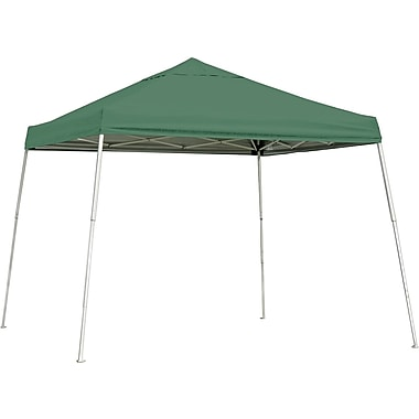 ShelterLogic 10' x 10' Slant Leg Pop-up Canopy with Black Roller Bag, Green Cover