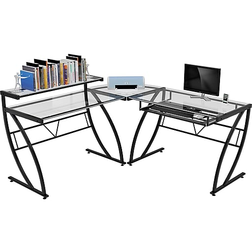Z Line Designs Belaire Glass L Desk Black Clear Staples