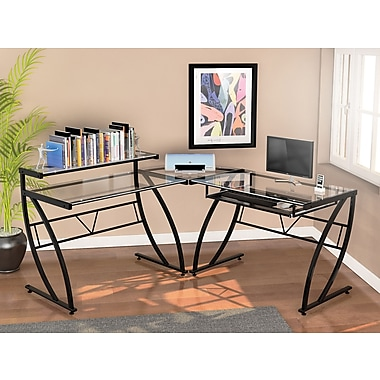Z Line Designs Belaire Glass L Desk Black Frame Zl1441