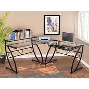 "Z-Line Designs Belaire Glass ""L"" Desk, Black Frame (ZL1441-1DU)"