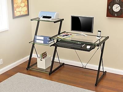 Z-Line Designs Nero 3 Shelves Metal Computer Desk, Black
