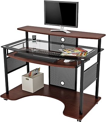 Z-Line Designs Cyrus Workstation Glass Desk; Cherry