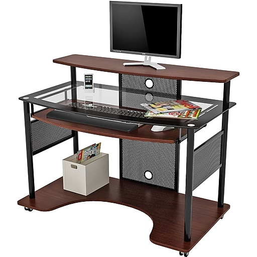 Z Line Designs Cyrus Workstation Glass Desk Cherry Staples