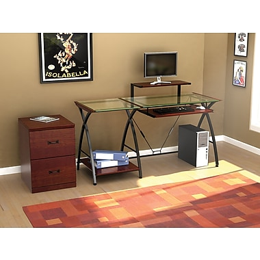 Z Line Designs Brisa Glass Computer Desk Clear Top