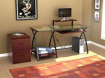 Z-Line Designs Brisa Glass Computer Desk, Clear Top