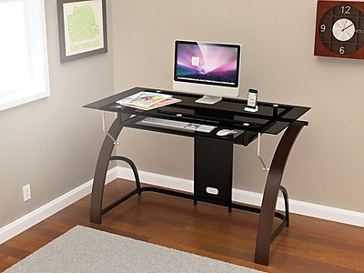 z line designs claremont glass desk espresso   staples  rh   staples com
