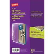 """Staples® 5 1/2"""" x 8 1/2""""  Zip Closure Sheet Protectors"""